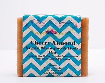 Cherry Almond Hair and Body Shampoo Bar (Vegan)