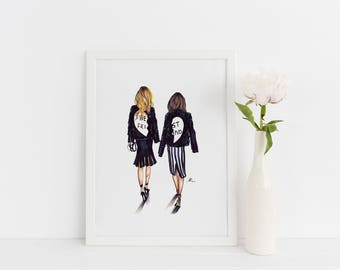 BFF (Fashion Illustration Print) (Fashion Illustration Art - Fashion Sketch prints - Home Decor - Wall Decor )