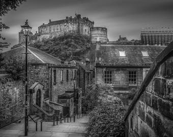 Edinburgh Castle from the Vennel, Edinburgh, Scotland. Original Photographic and available in various sizes