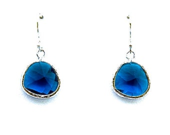 Blue Sapphire Crystal Earrings, Drop Earrings, Dangle Earrings, Wedding Jewelry, Bridesmaid Jewelry, Mother's Day