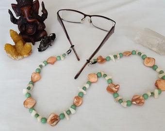 Orange Shell, Green and White Beaded Eye Glass Chain
