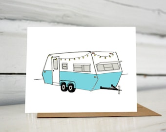 Vintage Turquoise Camper Holiday Greeting Card