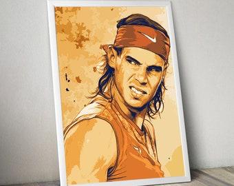 Rafael Nadal Tennis Poster, Art Print, Kids Decor, Digital Printable file,