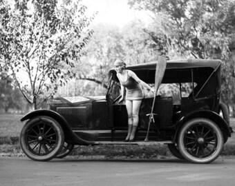 "1918-1920 Bathing Beauty on a Car Vintage Photograph 8.5"" x 11"" Reprint"