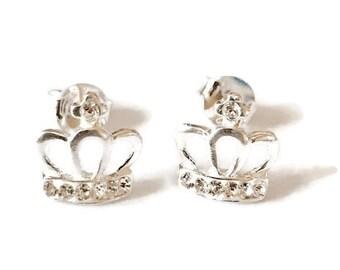 Sterling Silver Crown Stud Handmade Earrings