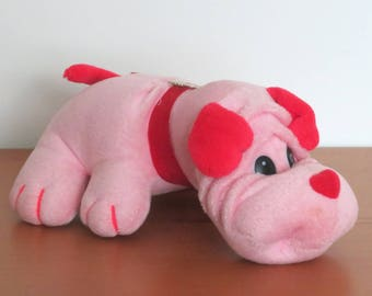 Vintage 1980s to 1990s Pink and Red Valentines Puppy Plush Similar to Tonka Pound Puppy Rumpleskins Adorable and Fun Gift
