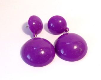 VINTAGE DANGLE EARRINGS Purple Earrings 2 inch long Rounded Dome earrings