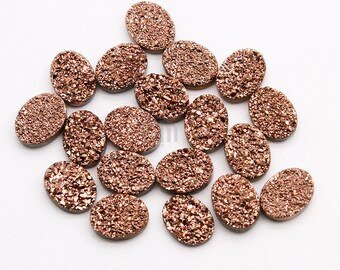 Rose Gold Druzy, Druzy Cabochon, 6x8mm Oval Druzy, Cabochon Druzy Stone Jewelry Making Supply GemMartUSA (RZ-80047)