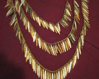 Striking Silver Copper and Brass Triple Chain Necklace and Earring Set