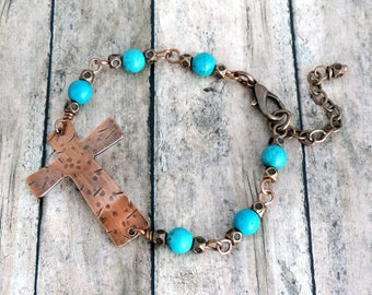 Copper Cross Beaded Bracelet - Christian Jewelry - Turquoise Blue Bracelet - Rustic Hammered Cross - Religious Jewelry - Inspirational