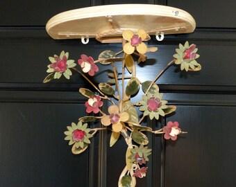 Vintage Toleware Shelf Tole Flowers