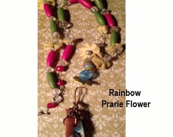 Great Spring or Summer Necklace  Rainbow Desert Flower