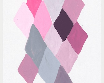 Geometric Abstract Painting, 10 x 7, Purple & Pink  NY1734
