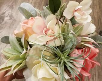 Silk Succulent/Rose/Cherry blossom Bouquet