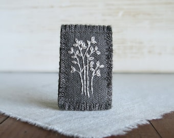 Winter Tree Brooch - White Embroidered Tree Hand Embroidered Textile Art Brooch