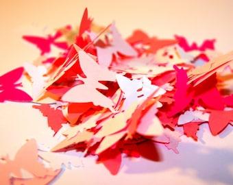 150 Paper BUTTERFLIES, Diecut butterflies, Pink paper butterflies decorations, butterfly wings, 2 sizes, butterfly garland,