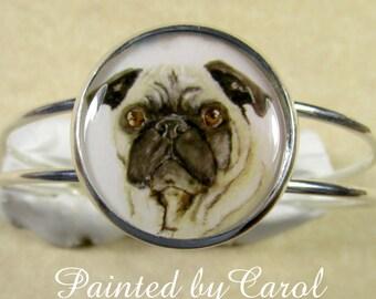 Fawn Pug Bracelet, Fawn Pug Jewelry, Fawn Pug Gifts, Fawn Pug Cuff, Pug Mom Gifts, Gifts for Pug Mom, Bracelet with Pug, Pug Lover Gifts