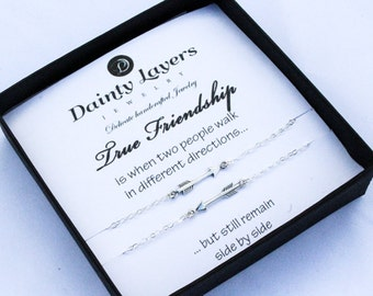 Best Friend Long Distance Necklace  / Friendship Jewelry Set / Gift for Her / Friends Forever / Quote Gift / Silver Tiny Arrow