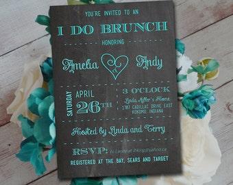 I DO BRUNCH Bridal Shower Invitation Template - Chalkboard Wedding Shower Template - Teal Chalkboard Couples Shower Invitation - Rehearsal