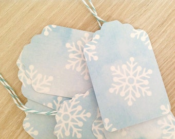 Blue Snowflake Gift Tags - Watercolour Vintage Gift Tag - Party Favour Tags - Hang Tag - Pale Blue Christmas gift tags - Crafting  Set of 10