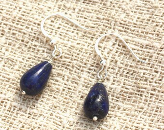Earrings 925 sterling silver and Lapis Lazuli drops 12x8mm