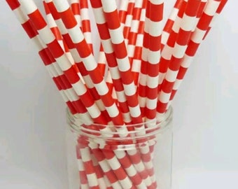 Red & White Horizontal Paper Straws