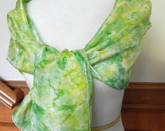 Lang Seide Schal Hand Dyed Lime grün und gelb, 14 X 60 Zoll, bereit zum Schiff