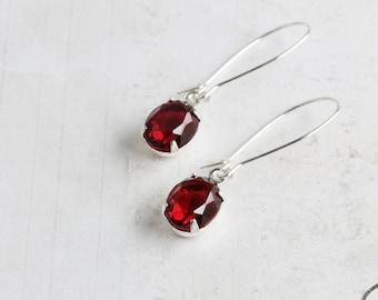 Dark Red Earrings, Small Rhinestone Earrings on Silver Plated Hooks, Red Dangle Earrings, Glass Stone, Retro Style Jewelry