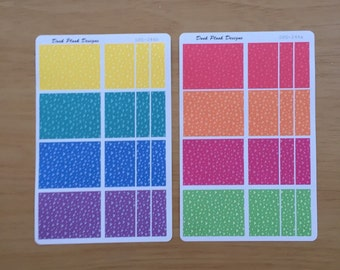 Coloured boxes sticker set for Erin Condren, Plum Paper, Filofax, Kikki K (DPD246)