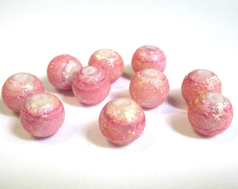 10 old beads pink foiled glass 10mm (O-23)
