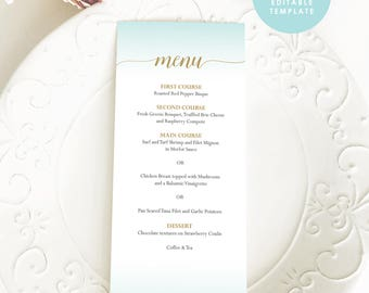 Blue and Gold Wedding Menu, Printable Menu, Beach Menu Template, Printable Menu, Instant Download, Editable PDF, #GD_WM114