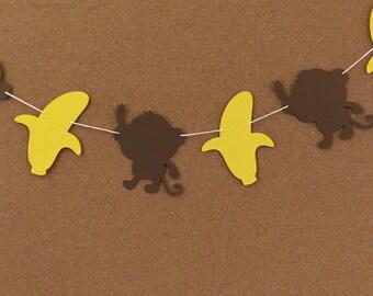 Monkey and Banana garland, baby shower garland, Monkey garland, Monkey and banana paper garland, birthday banner