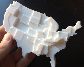 3D Printed Map | Infographic Fridge Magnet | Type 2 Diabetes Data Visualization