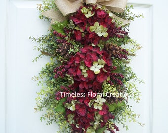 "Fall~Hydrangea Wreath Swag~""Berry Pine Cone"" with Pine Cones~Burlap Bow and Berries~for Your Front Door~Floral Swag~Timeless Floral Creation"