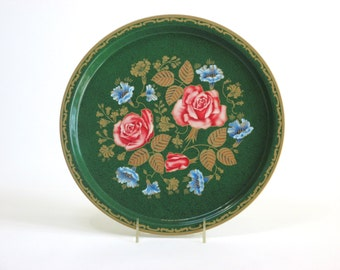Beautiful, Skilfully Painted Toleware Metal Tray With Roses and Bachelor Buttons by Elite Trays, Made in England