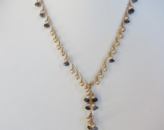 Iolite, Champagne Pearl Handmade Lariat Necklace with 14K Gold Chain