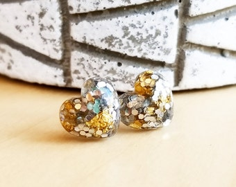 Silver Glitter and gold leaf Heart Stud Earrings, Sparkly Earrings, Love, Jewelry, Jewellery, Women, Accessories, Statement Earrings, Post