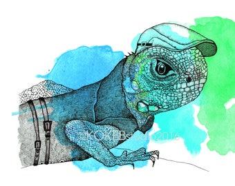 IGUANA -  whimsical art, nursery decor, animal alphabet, zoo animal