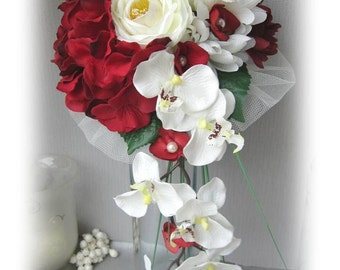 Burgundy and ivory bridal bouquet eternal orchids
