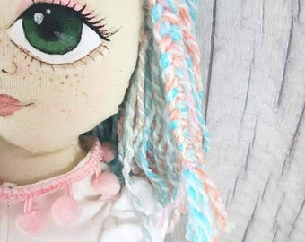 Cloth rag fabric doll hand made 30 inch unicorn hair