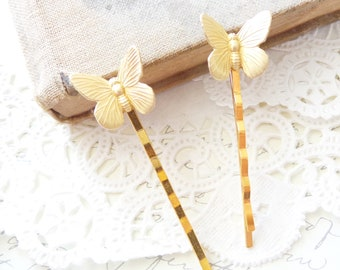 Gold Butterfly Hair Pins - Butterfly Bobby Pins - Butterfly Hair Pin Set - Uplifted Wings Butterfly Bobby Pin - Butterfly Hair Accessory