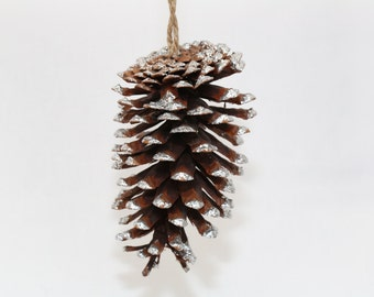 Natural Handmad Christmas  Snowy Pinecone Ornament