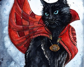 Doctor Strange Kitten: Fine Art Watercolour Black Cat Print