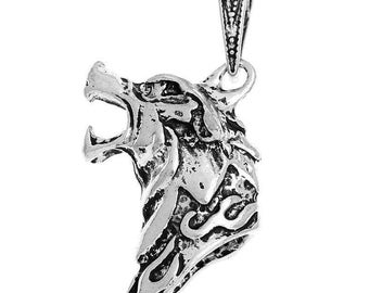 Large 3D silver metal Wolf head pendent (x 1)