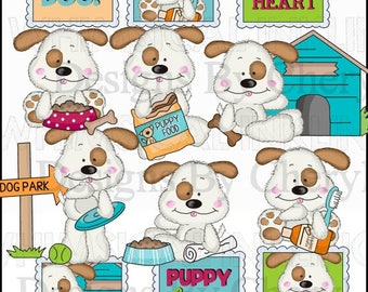 Dog Clipart - Fluffy Pup Good Dog - Instant Download