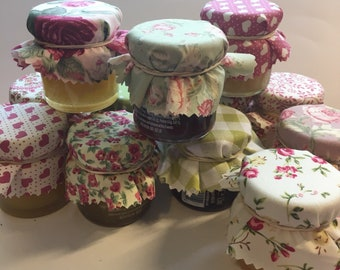 Wedding Favour Fabric in pretty Pink and Green Mini Jam Jar Lid Top Covers X 50 Jam Pot Covers Fabric Jar Covers Mini Jar Covers with twine