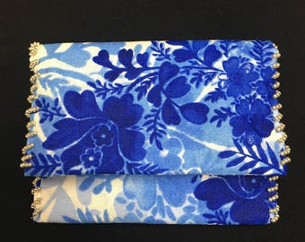 Small Blue & White Pouch I