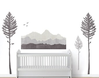 Mountain Wall Decals - Mountain and Pine Trees Fabric Wall Decals in Watercolor
