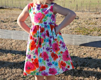 Girls Spring Dress, Girls Easter Dress, Mother Day Dress, Floral Dress, Sleeveless, Outfit, Toddler, Tween, Big Girl, Granddaughter Dress