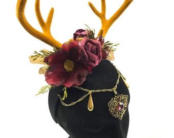 Beautiful deer stag horn flower crown Handmade by Asbeau *deep pink*